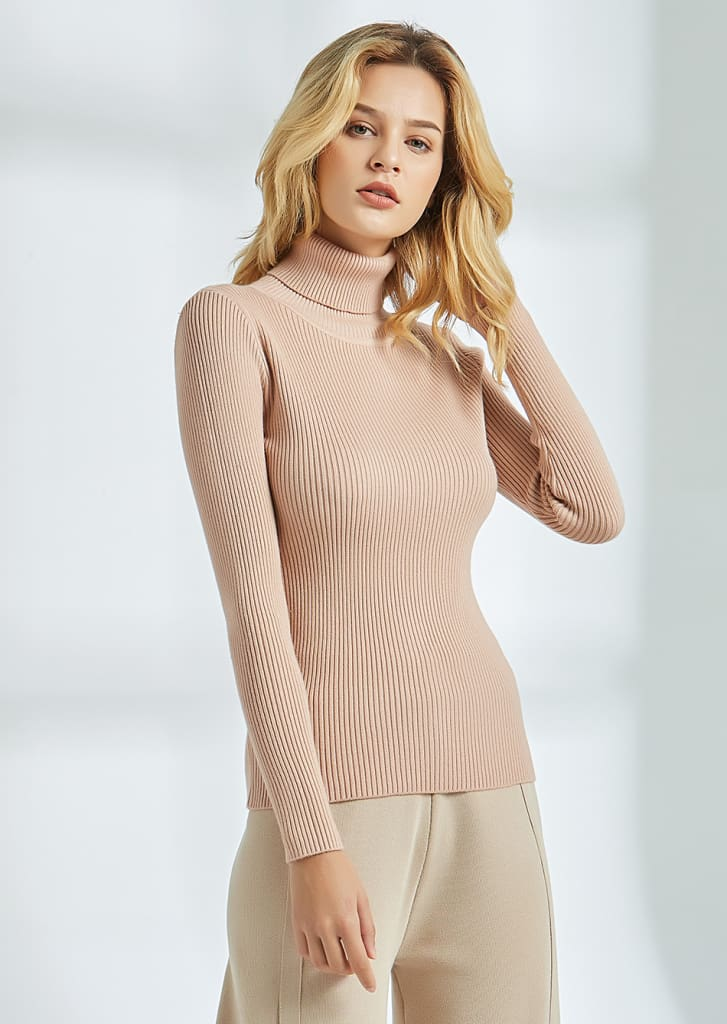 Long Sleeve Ribbed Sweater for Women Warm Pullover Knitted Sweater