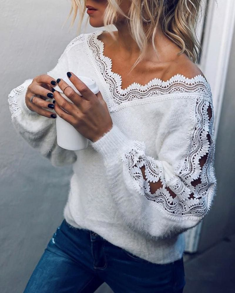 Fashion Winter Women Lace V-neck Tops Blouse Ladies Casual Hollow Out Loose Sweater Warm Sweatshirt Autumn Tops