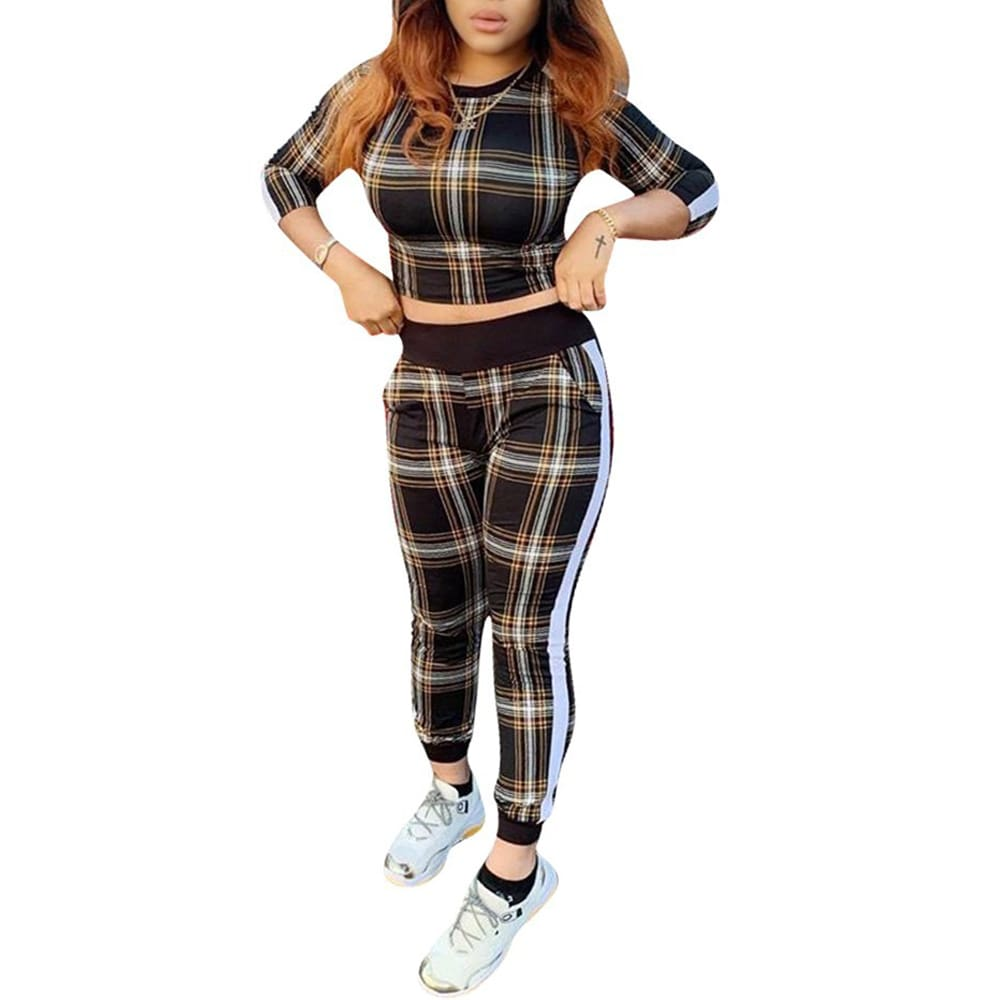 2pcs set Women Casual Tracksuit Jogging Gym Sports Hoodies Sweatshirt Plaid Cropped Tops+Pants Trousers Suit