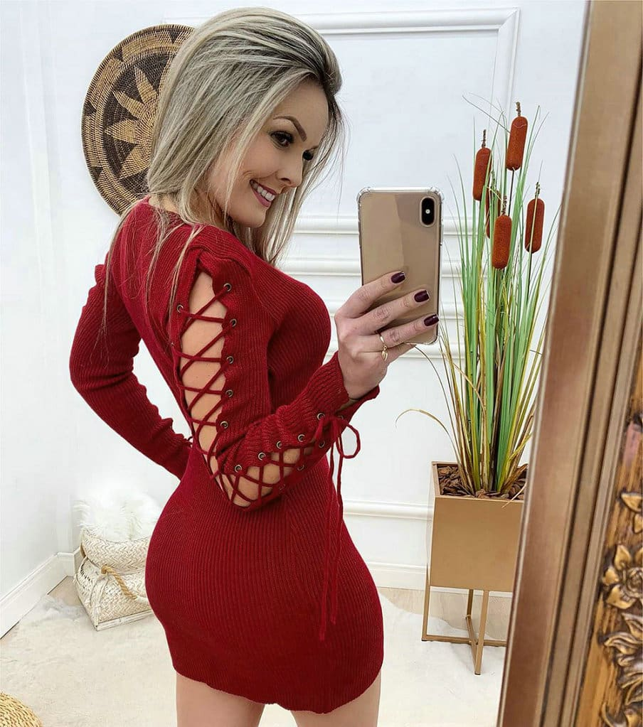 Fashion Women Autumn Bandage Bodycon Dress Ladies Casual Crew Neck Hollow Out Long Sleeve Party Cocktail Dress