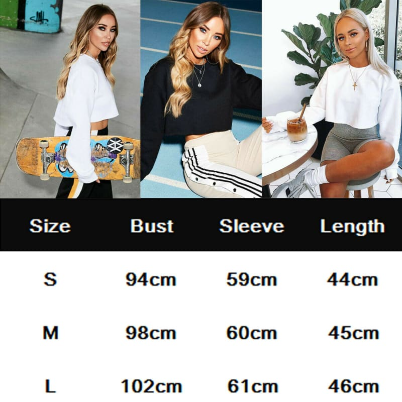 Fashion Women Casual Long Sleeve Solid Sweatshirt Jumper Summer Autumn Holiday Casual Sportwear Crop Top Loose Pullover Coat