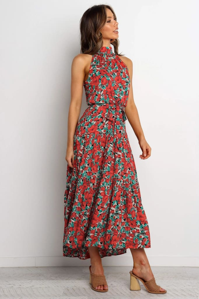 Boho Maxi Floral Dress Summer Ladies Sleeveless Halter Neck Casual Holiday Party Long Flower Dress