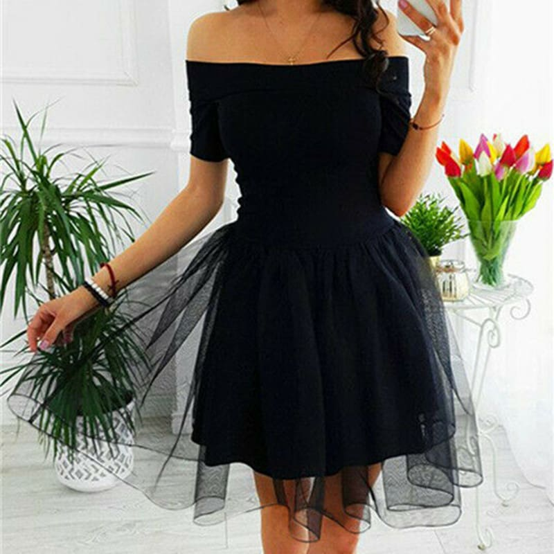 Elegant Women Summer Ruffle Mesh Mini Dresses Off Shoulder Evening Party Ladies Cocktail Club Mini Formal Dress
