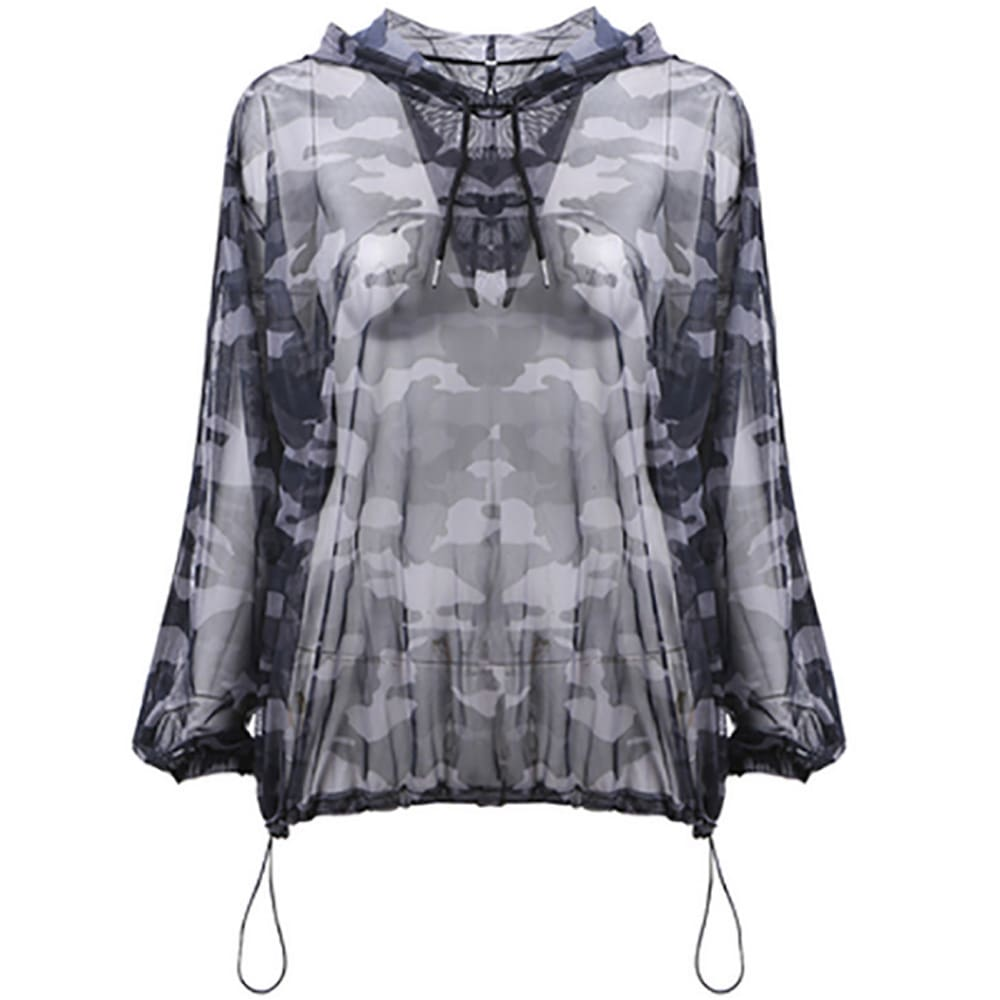 Fashion Thin Smock Women Sport Street Dance Perspective Mesh Camouflage Hooded Blouse Summer Autumn Pullover Tops