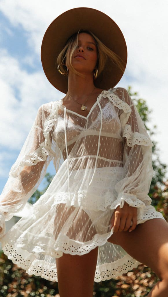 Women Mesh Lace See THrough Beachwear Bikini Cover Ups Women Dress Long Sleeve Beachwear Swimwear Kaftan Ladies Summer Dress New