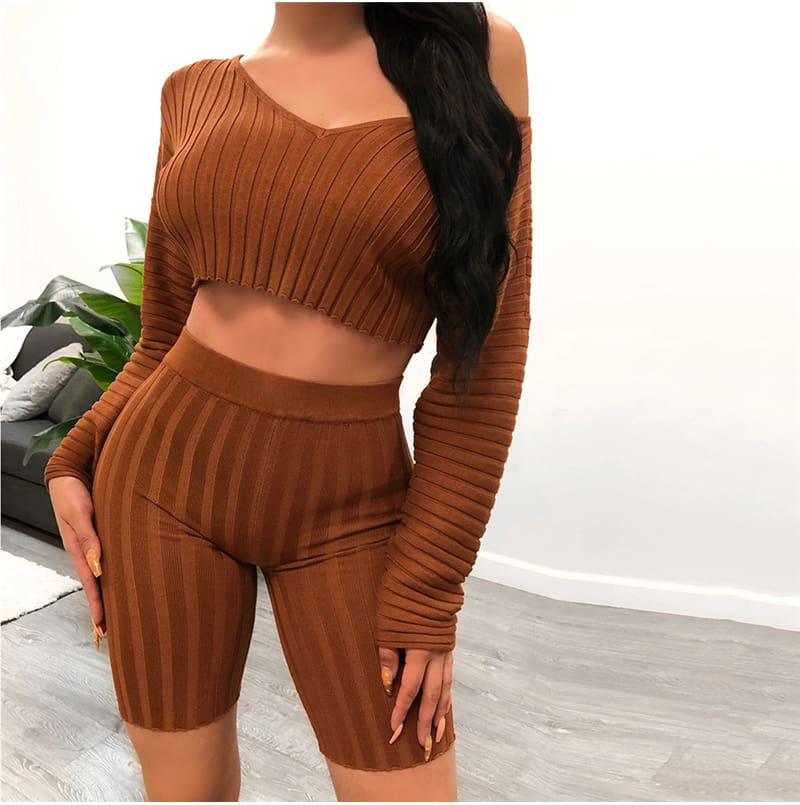 Women Long Sleeve Crop Top and Short Pant Suit Elegant Casual Plain Tight Stretch home wear 2 Piece Set