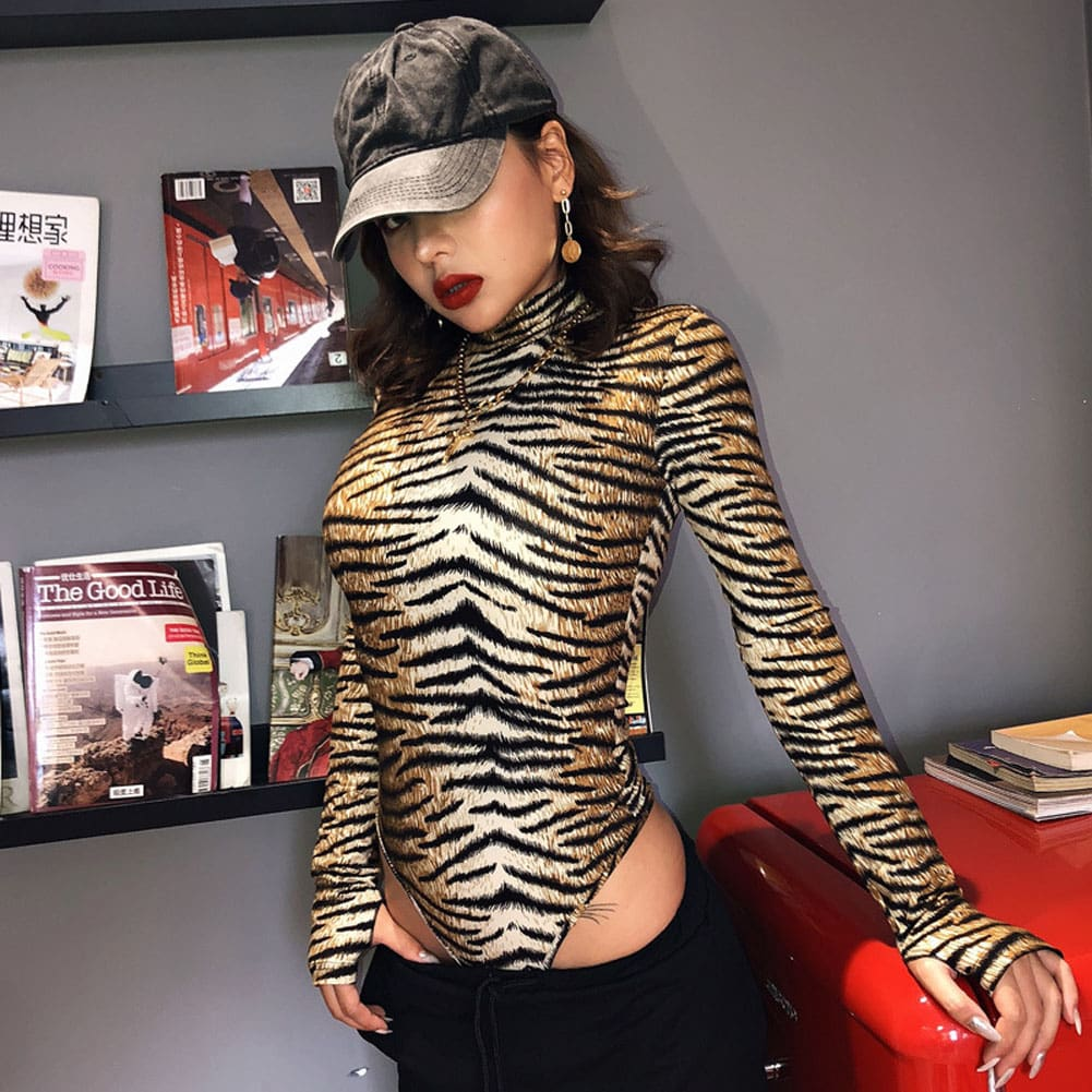 Women Romper Bodysuit Tiger Leopard Print Tops Long Sleeve Ladies Turtleneck Bodycon Stretch Jumpsuit Top Blouse Catsuit