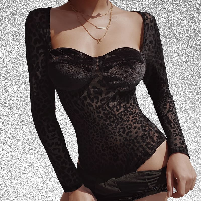 Black Leopard Print Mesh See through Skinny Bra Shaped Long Sleeve Bodysuit