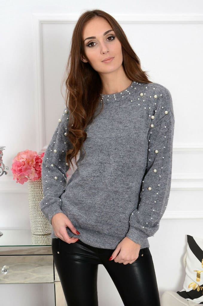 2019 Autumn Women Half-high Collar Knitted Beading Sweater Loose Jumper Ladies Winter Warm Basic Pullover Tops