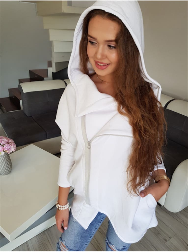 Fashion Women Autumn Winter Top Long Sleeve Hooded Sweatshirt Ladies Casual White Hoodies Outwear