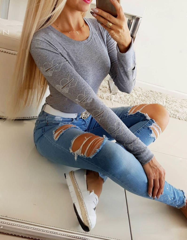 Autumn Winter Womens Casual Hollow Long Sleeve T-Shirt Ladies Slim Fit Round Neck Pullover Basic Tops Tee