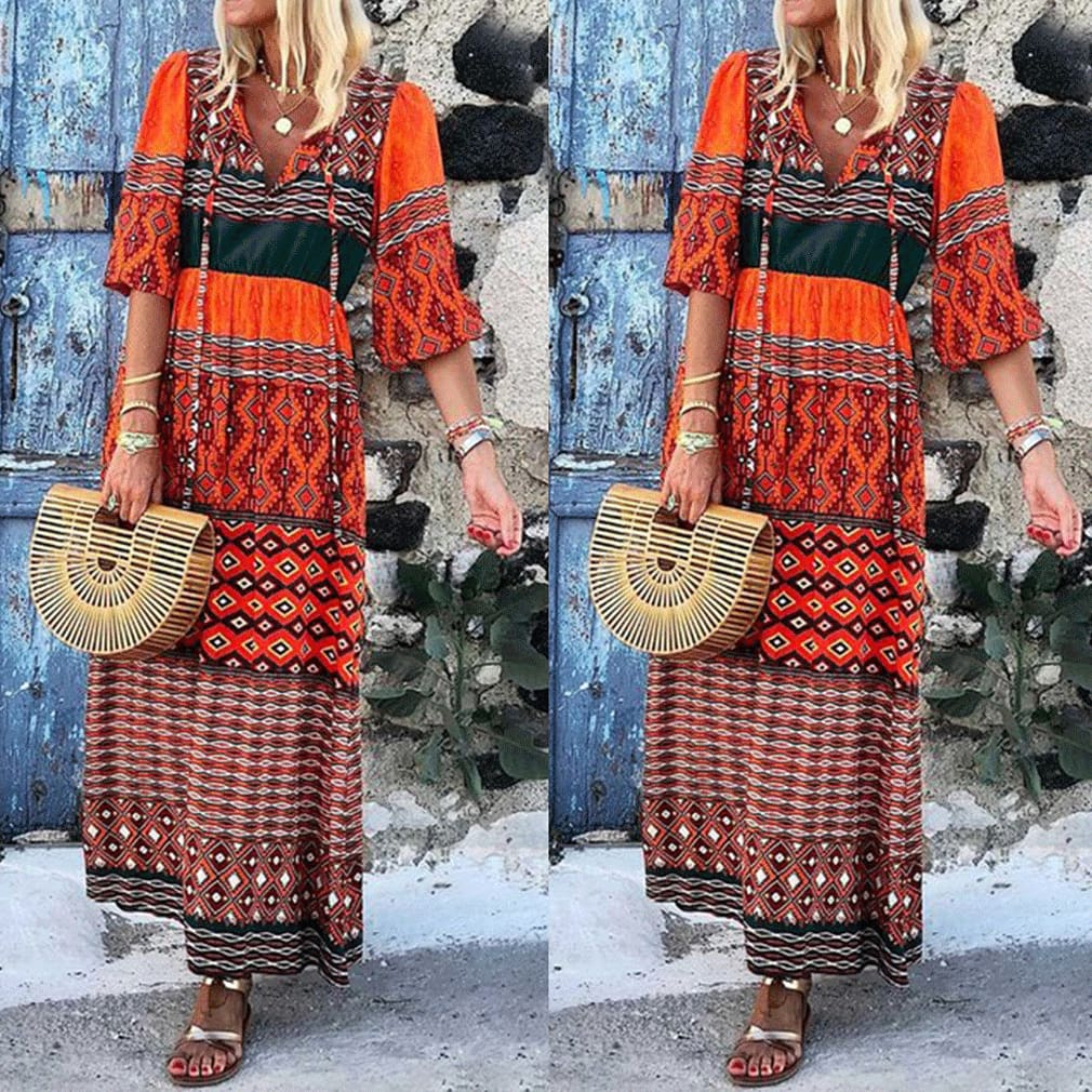 Bohemian Women Summer Maxi Loose Dress Sleeveless Vintage Floral Print Deep V Neck Party Casual Beach Dress Sundress
