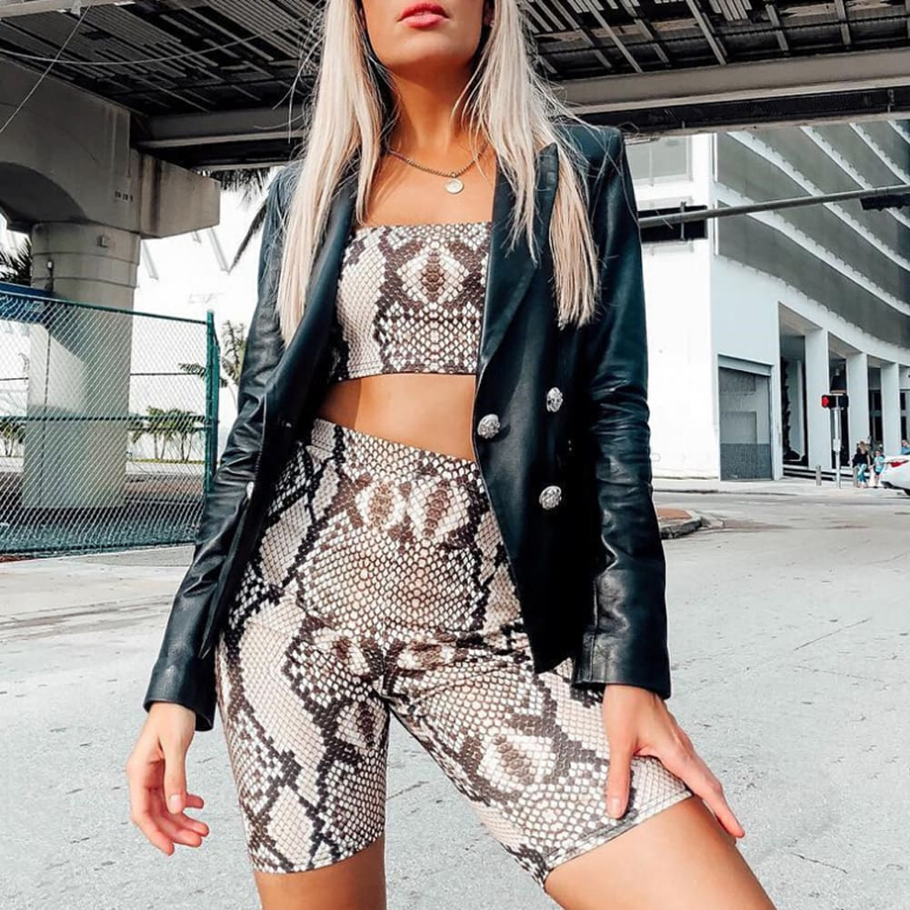 Snake Skin Print Two Piece Set Womens Shinny Tube Top Shorts