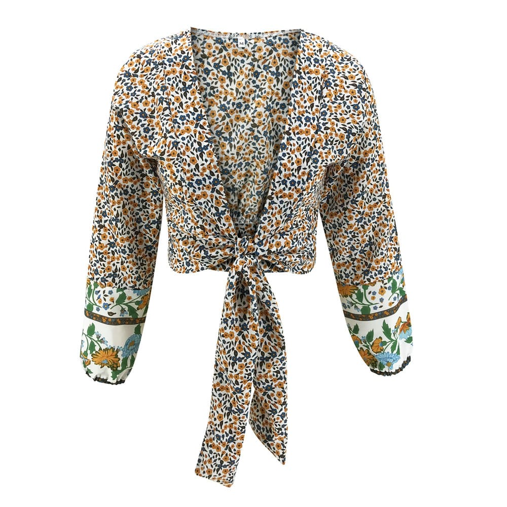 Fashion Spring Women Long Sleeve Floral Cropped Cardigan Blouse Bolero Shrug Casual Coat Top Shirt
