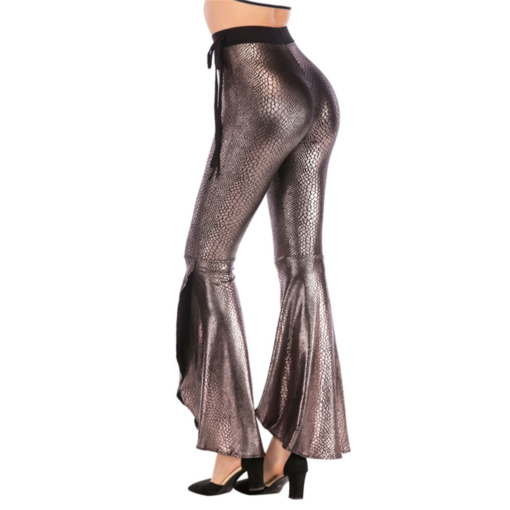 Fashion Women Flared Leg Stretch Pants Bell Bottom asymmetric Long Stretchy High Waisted Trousers Leggings Palazzo Bottom
