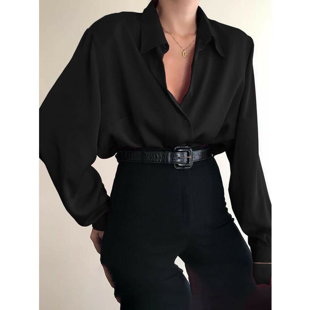 Fashion Women Button Down Blouse Shirts Ladies Autumn Long Sleeve Casual V-Neck Loose OL Work Blouse Tops