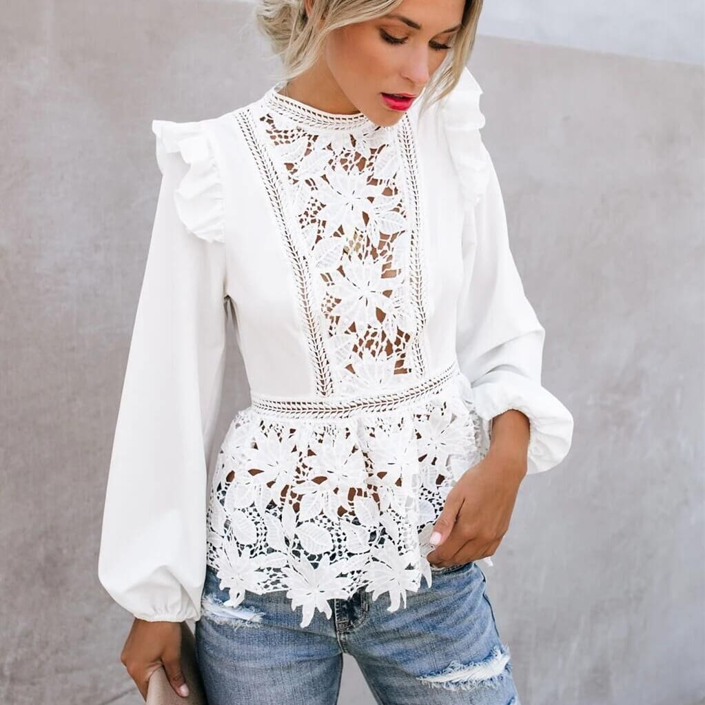 Fashion Women Boho Puff Sleeve Floral Lace White Tops Blouses Hollow Out Office Elegant Ladies Shirt Party Tops