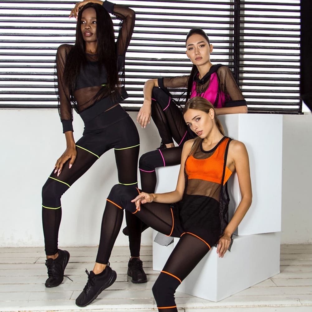 2 Piece Set Sportwear Women Fitness Yoga Sports Trousers Bra Stretch Workout Crop Top Vest Casual Outfits Clothes Set