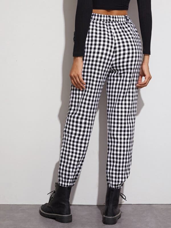 Gingham Plaid Print Elastic High Waist Joggers Sport Trousers Casual Harem Pants