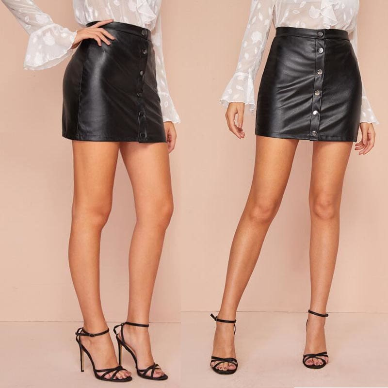 Fashion Women Sexy Bandage PU Leather Skirt High Waist Button Pencil Casual Bodycon Short Mini Skirts Clubwear