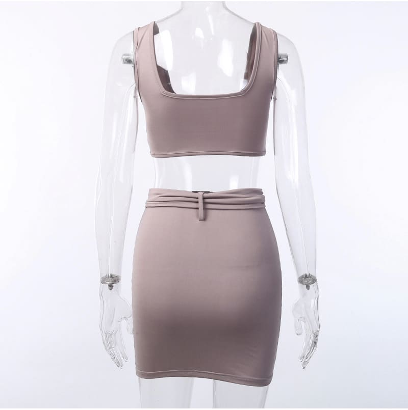 Women Bandage Bodycon Crop Top and Skirt Suit Sexy Ladies Evening Party Club Streetwear 2 Piece Set