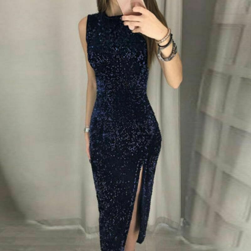 Eleagnt Womens Bodycon Sequin Glitter Midi Short Dress Sexy Lady Sleeveless Slim Split Evening Party Gown Dress