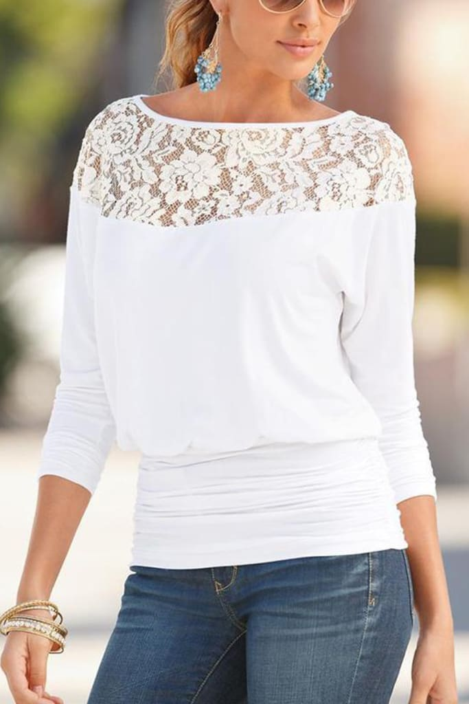 Solid Blouse Women Loose Lace Shirt Blouse Blusa Feminina Shirt Top Plus Size