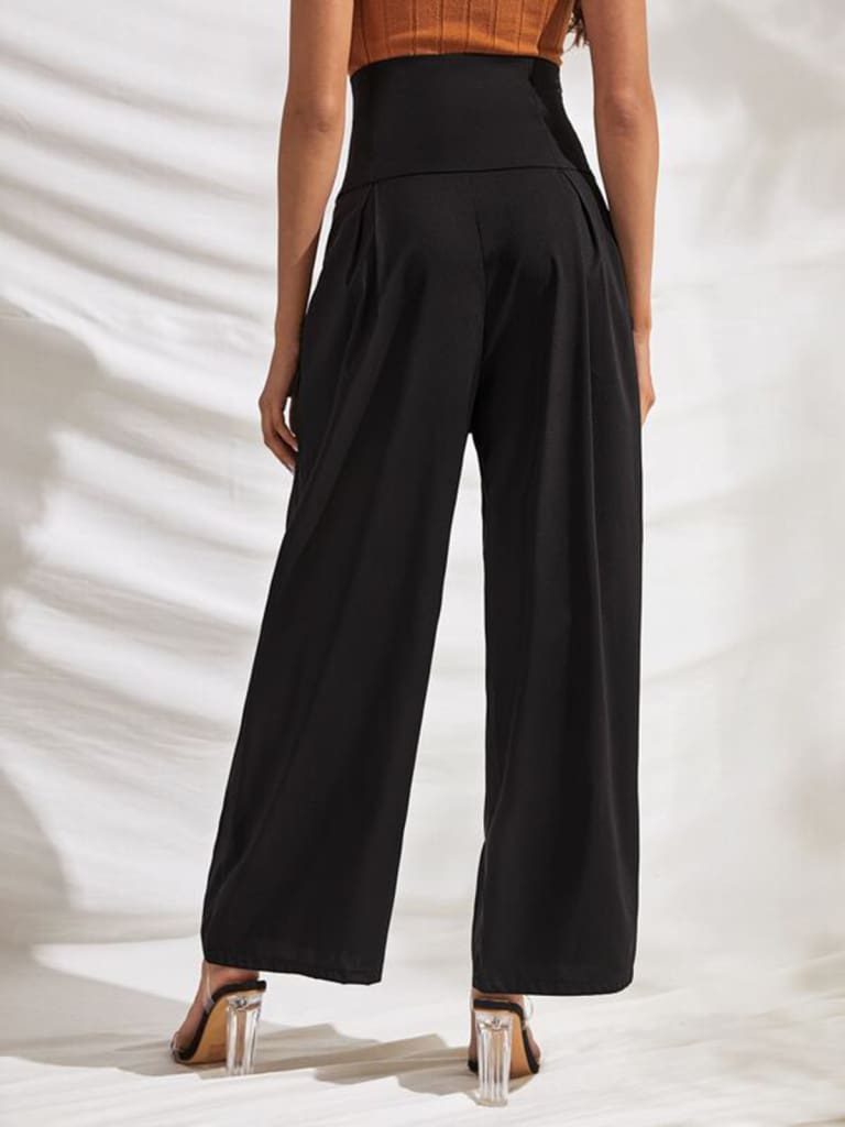 Fashion Women Palazzo Wide Leg High Waist Flared Trousers Button Casual Loose OL Ladies Office Business Pants