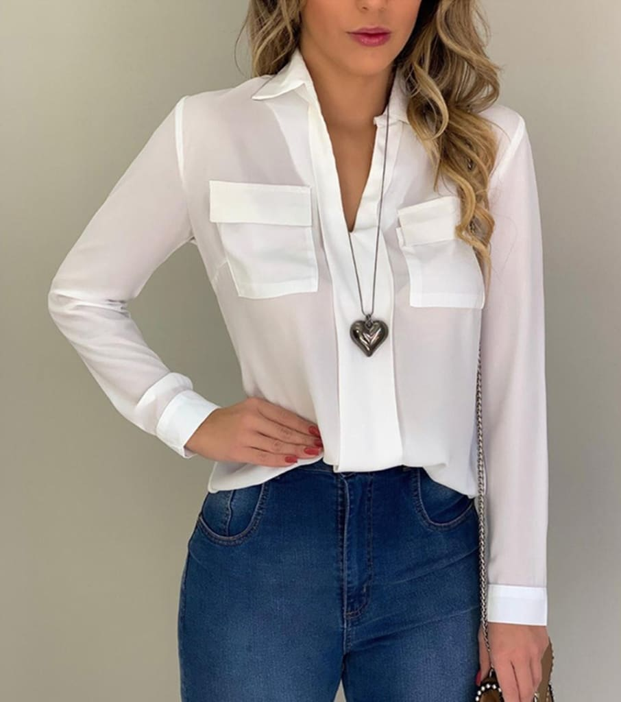 2019 Fashion Elegant Women Casual Long Sleeve Blouse Loose Tops OL Ladies Office Work Plain Collar Shirt
