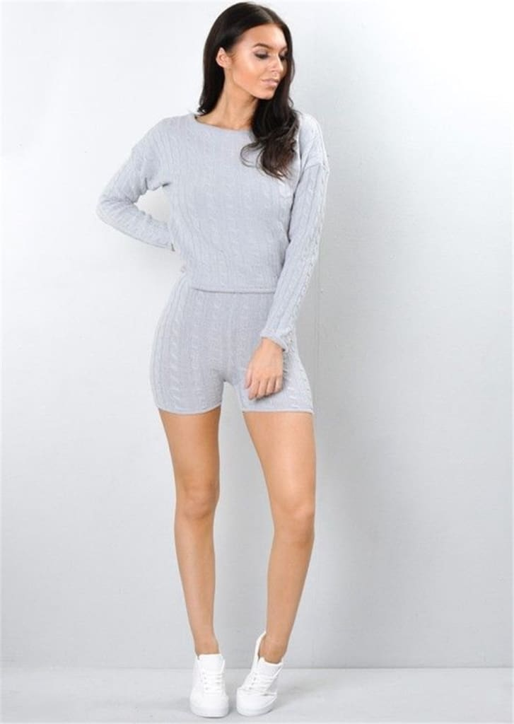 2Pcs Womens Knitted Pullover Sweater + Short Pants Casual Long Sleeve Knitwear Jumper Tops Tracksuit Set