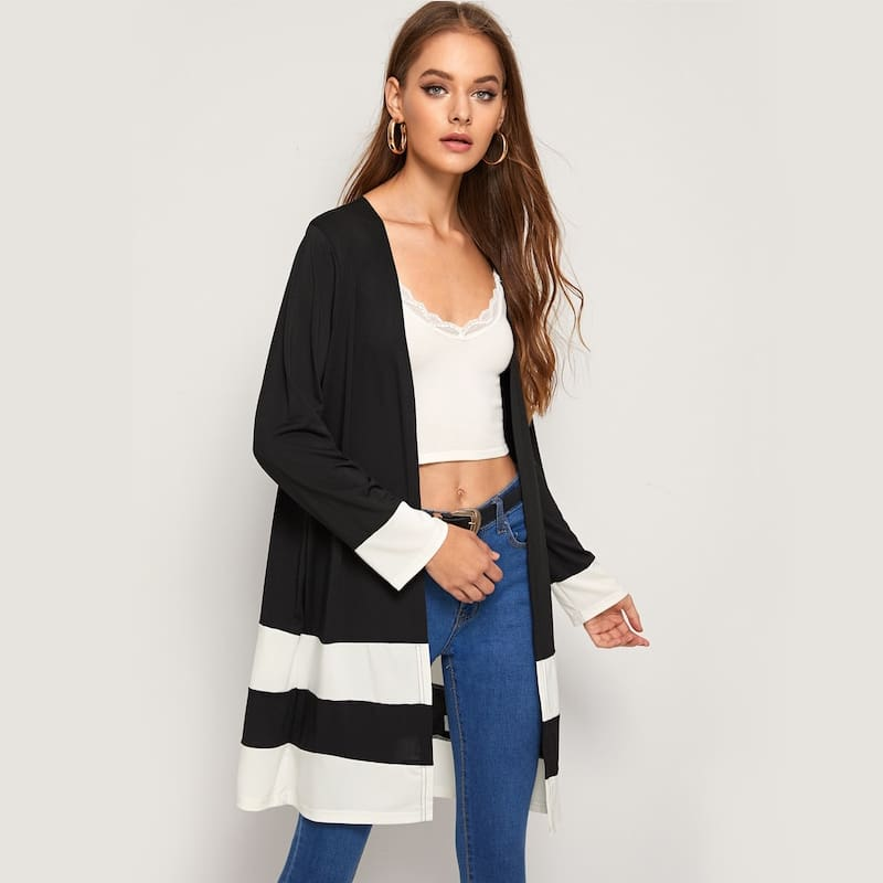 Ladies Open Front Stitch Cardigan Jackets Long Sleeve Jersey Basic Coats Straight Outwear Clothes
