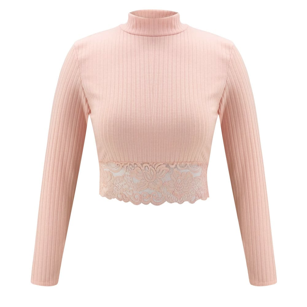 Womens High Collar Lace Crop Tops T-Shirt Laies Stretch Casual Long Sleeve Knit Slim Fit Top