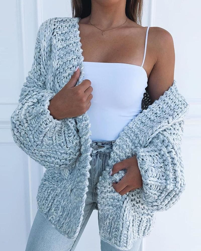 Loose Knitted Casual Cardigan Tops Women Long Sleeve Sweaters