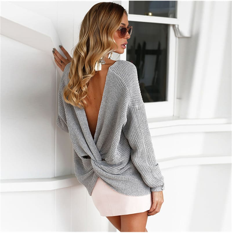 2019 Fashion Women Autumn Long Sleeve V Neck Tops Blouse Knitted Sweater Elegant Ladies Backless Pullover Tops Streetwear