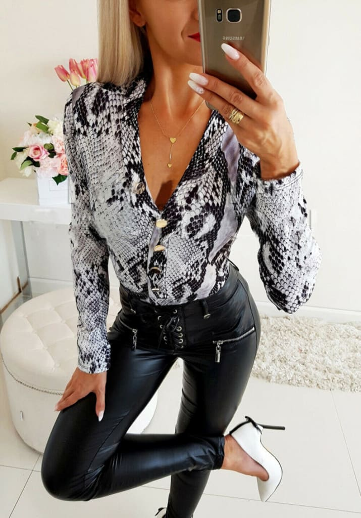 Fashion Blouse Shirt Womens Sexy Deep V-Neck Long Sleeve Tops Snakeskin Leopard Print Button Ladies Casual Tops Tee