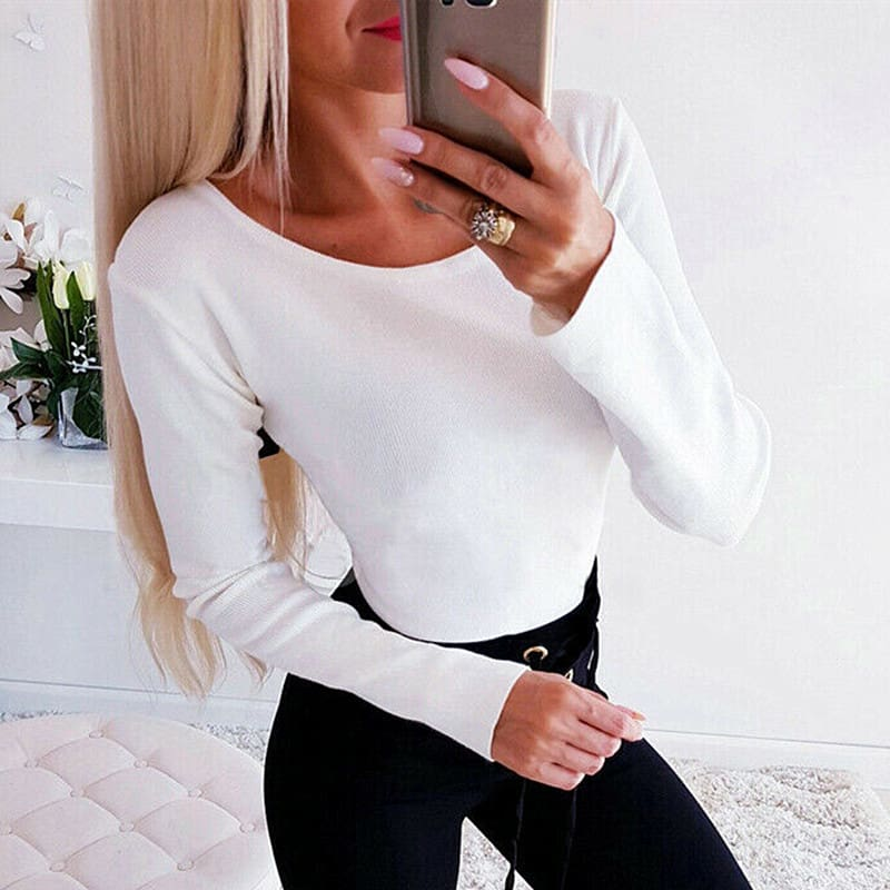 Autumn Women Casual Blouse Ladies Backless Lace Cross Long Sleeve Knitting Slim Tops Loose Round Neck Shirt