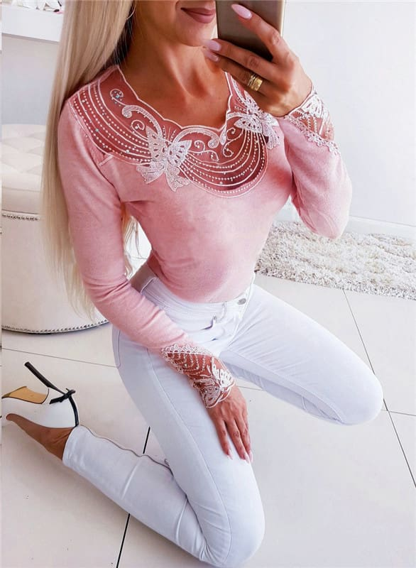 Autumn Women Lace Sequins Blouse Fashion Butterfly Beaded V Neck Tee Shirt Casual Long Sleeve Slim Fit Tops