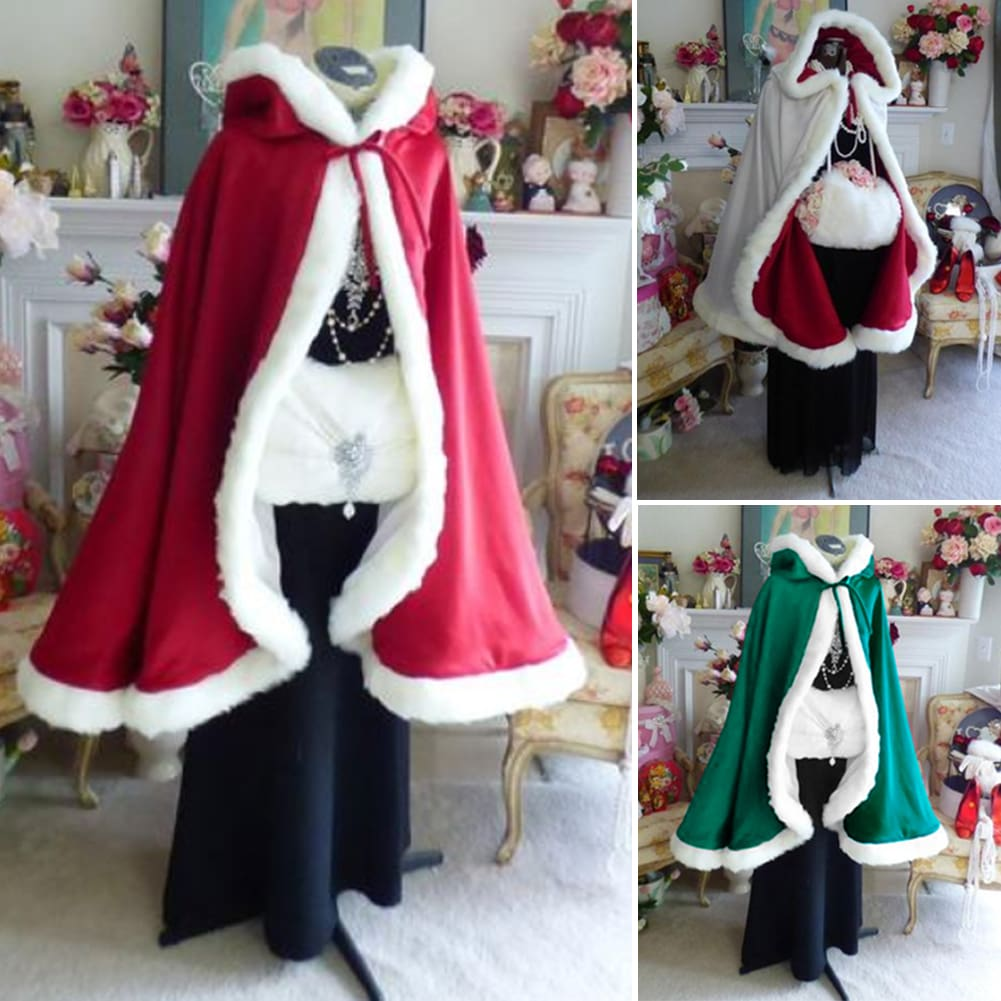 Adult Kid Christmas Xmas Santa Claus Velvet Fur Hooded Warm Fancy Dress