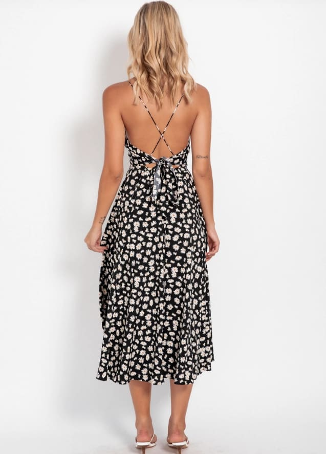 Boho Print Maxi Dress Sleeveless Evening Party Beach Dress V-Neck Sundress Backless