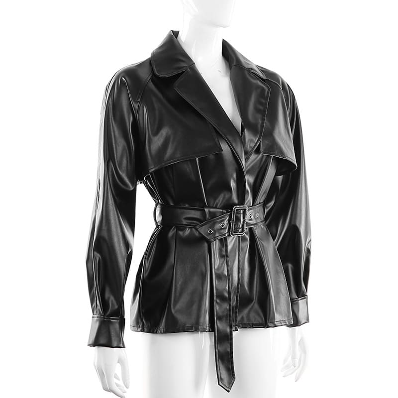 Women Leather Jacket Steetwear Motorcycle Windbreaker Ladies Long Sleeve Sashes Coat Outwear