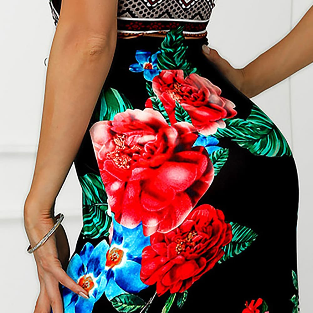 2019 New Trend Women Summer Bohemian Floral Dress Beach Holiday Sexy Evening Party Sleeveless Losoe Sundress