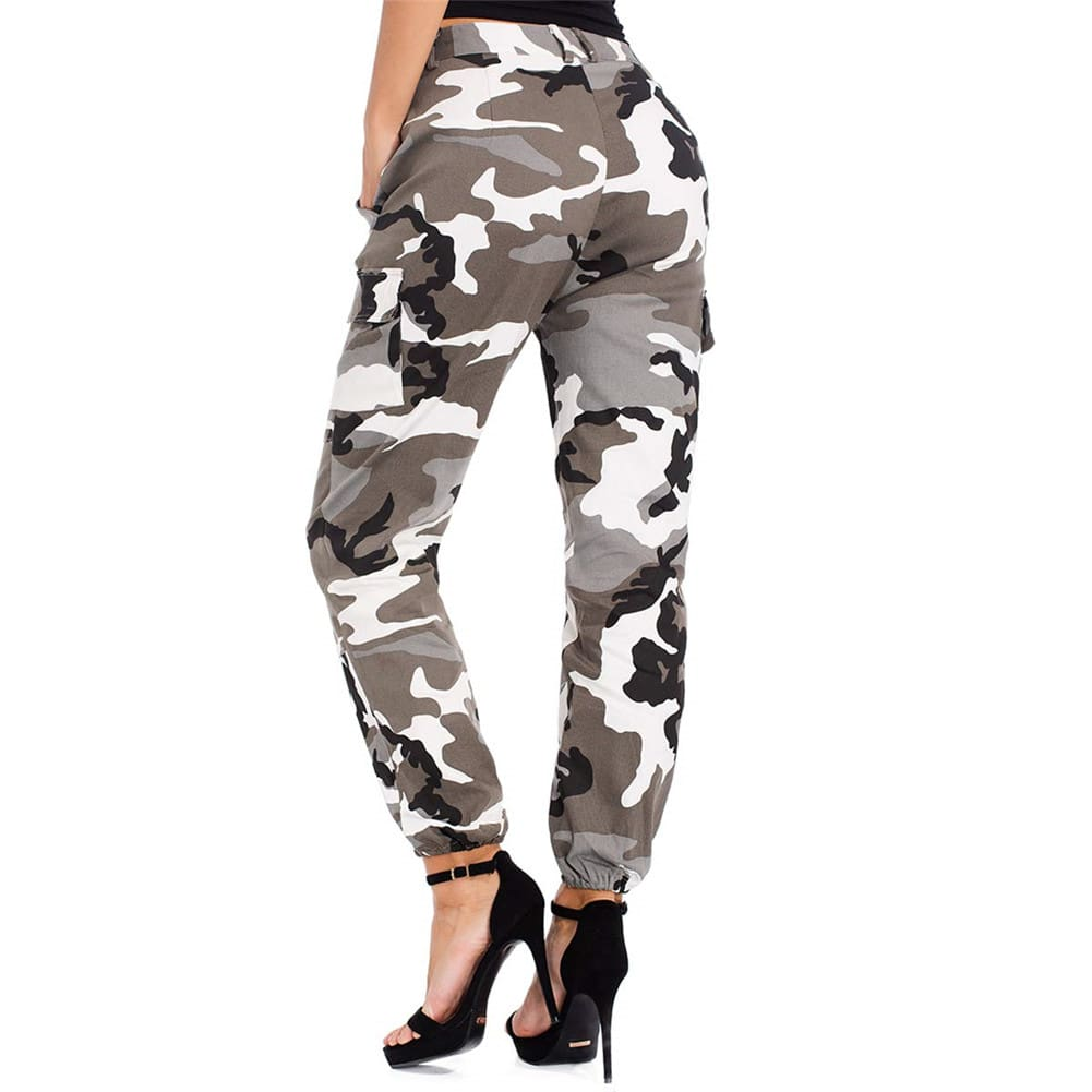 Women Camouflage Camo Cargo Trousers Army Pants Ladies Casual Harem Joggers Sport Sweatpants Hip Hop Rock Trousers