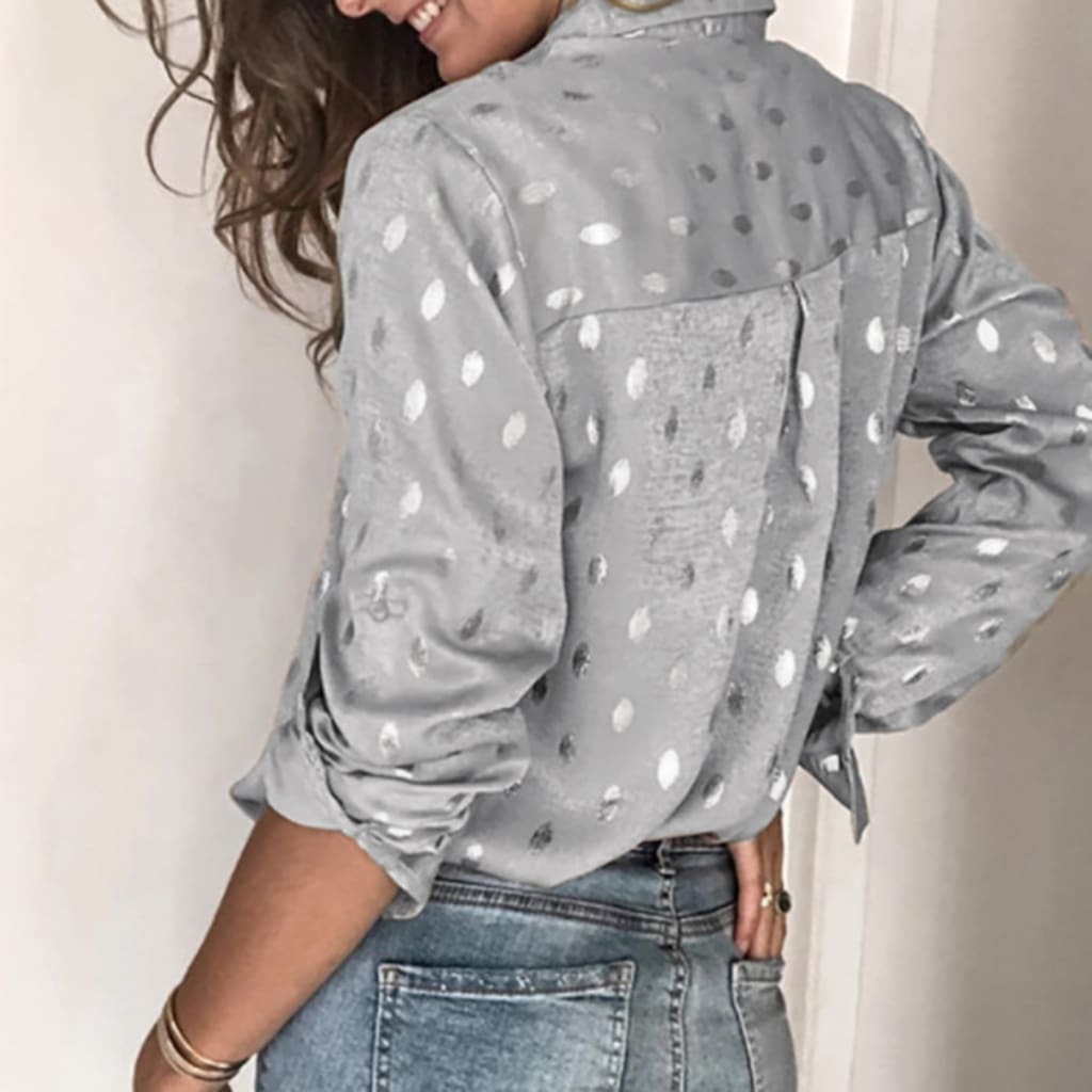Women Button Polka Dot V Neck Blouse Long Sleeve Tops