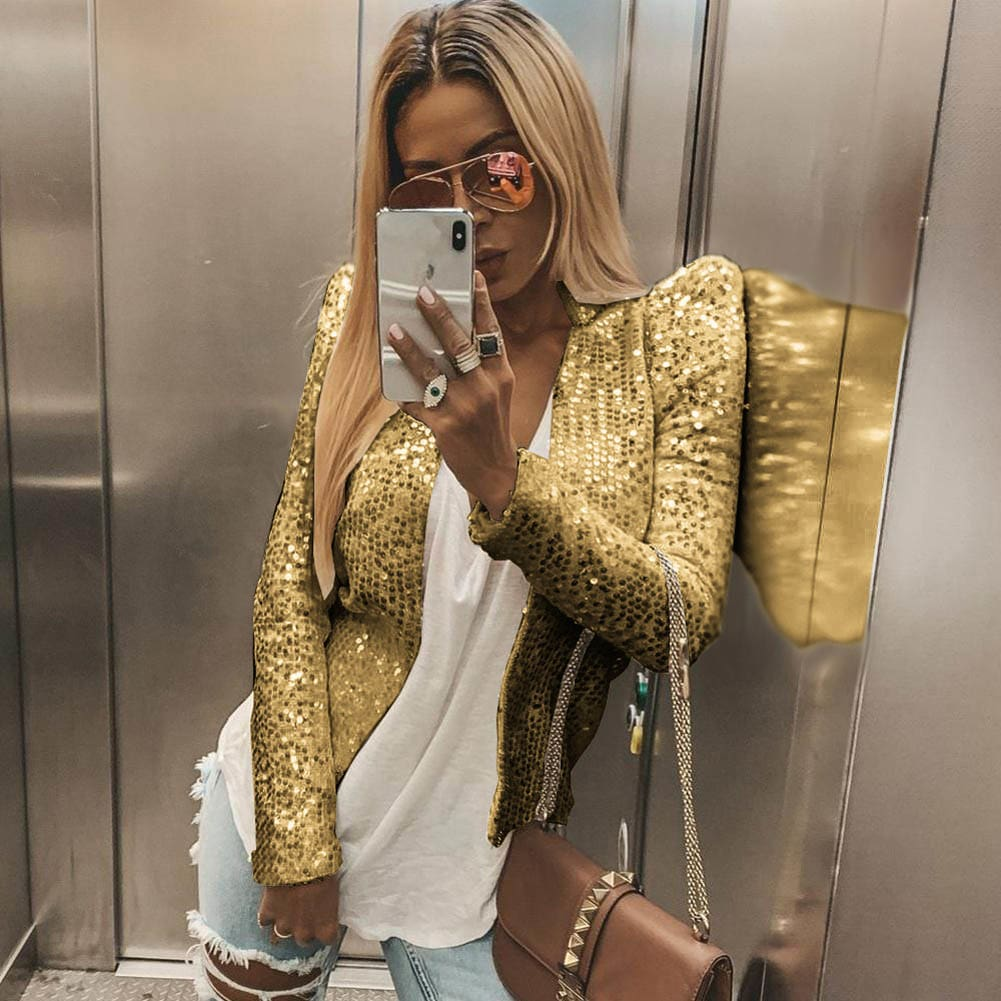 Fashion Women Business Suit Sequined Blazer Jacket Coat Autumn Ladies Casual Slim OL Blazers Outwear Streetwear