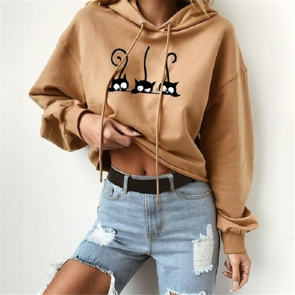 2019 Autumn Women Cute Cat Pinted Sweatshirt Hoodies Ladies Casual Loose Pullover Jumper Coat Tops Warm Winter