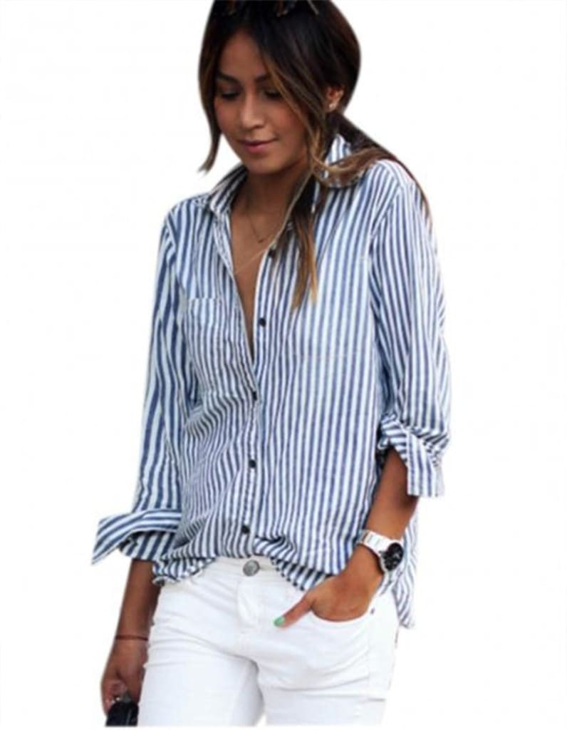 Blouses 2019 Long Sleeve Striped Loose Blouse Casual Tops Buttons Shirt