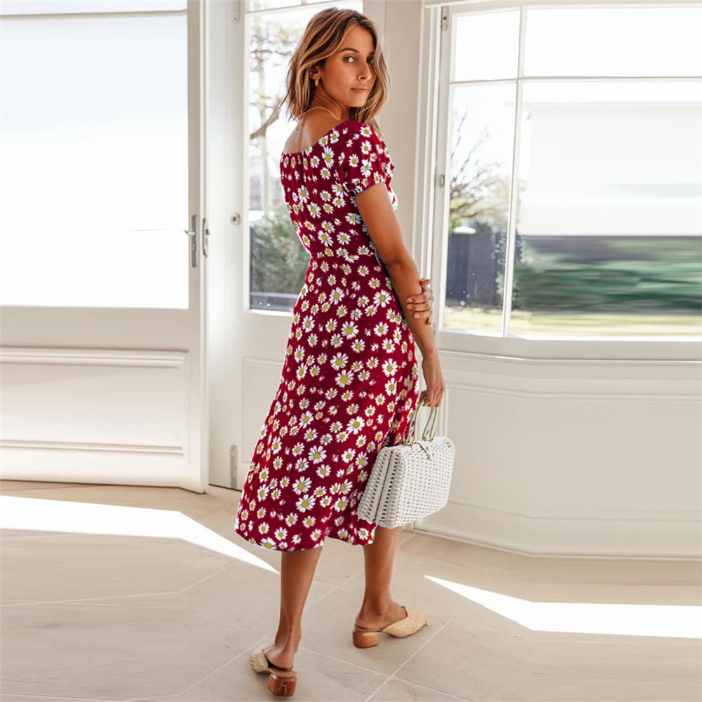 Maxi Floral Dress Ladies Holiday Casual Beach Swing Dresses Casual Boho Short Sleeve Square Neck Holiday Dress