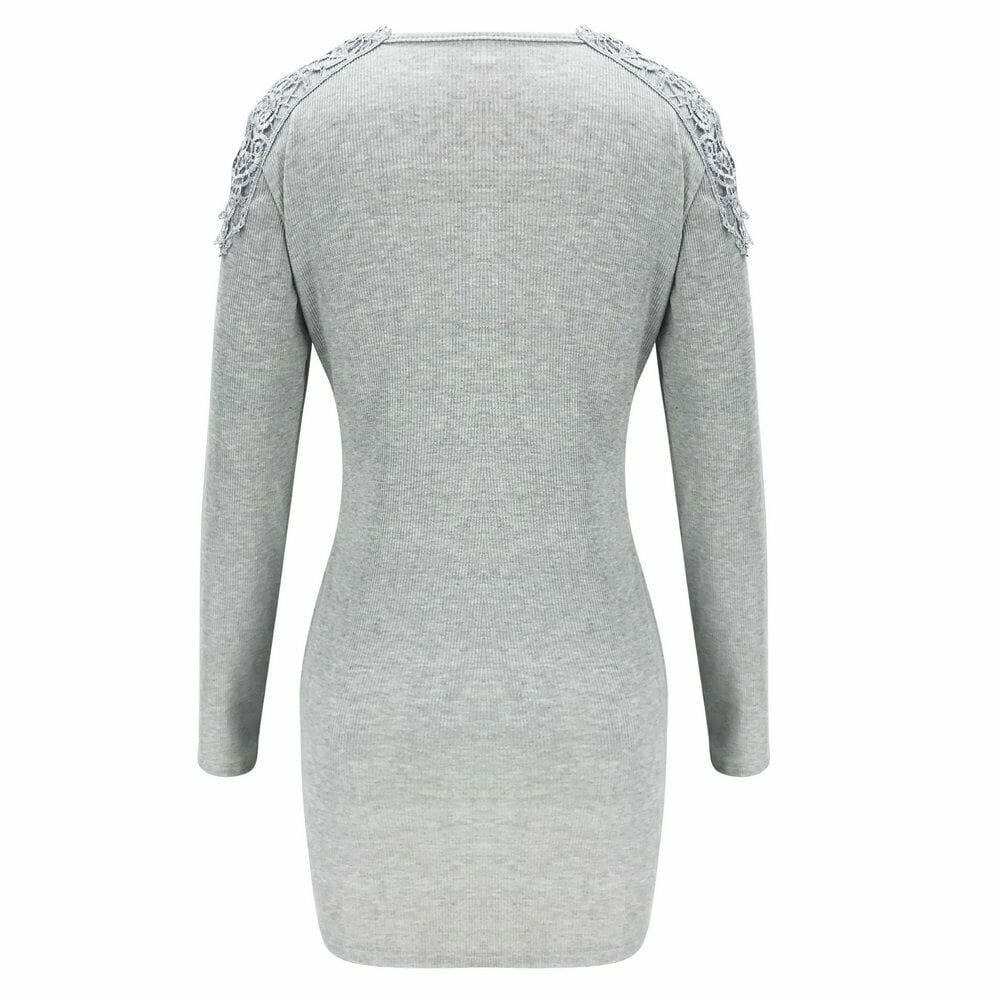 Fashion Women Knitted Bodycon Jumper Dress Ladies Autumn Winter Long Sleeve Casual Slim Fit Sweater Tops Dress