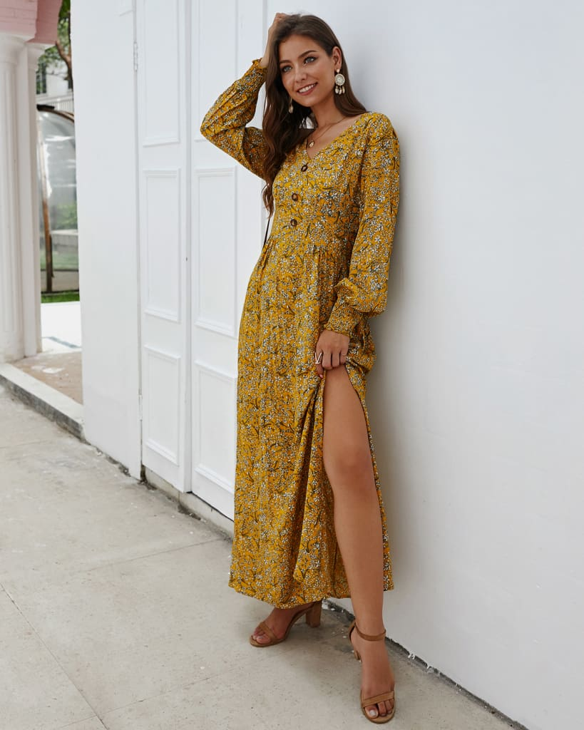 Women Ladies Long Lantern Sleeve Autumn Dress Floral Autumn Pre-fall Holiday Buttons Maxi Dress