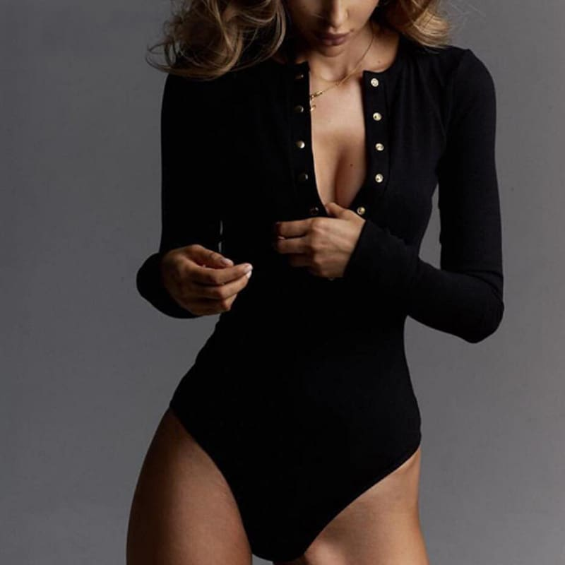 Sexy Leotard V-Neck Long Sleeve Tops Button Down Casual Bodysuit Jumpsuit Romper